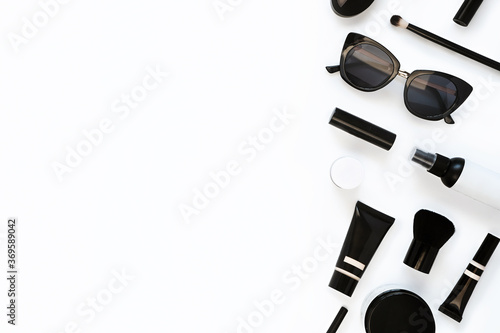 Fototapeta Woman's beauty, cosmetic products and accessories set on white background. Creative flat lay top view composition with copy-space. obraz na płótnie
