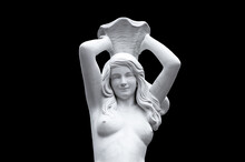 Antique Marble Statue Of A Girl With A Jug On Her Head, Isolated On Black Background