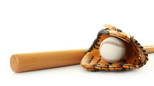 Leather Baseball Ball, Bat And Glove On White Background