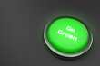 3d rendering of a shiny green button isolated on black background. Go Green button for web page, presentation, apps and design products. Horizontal composition with copy space.