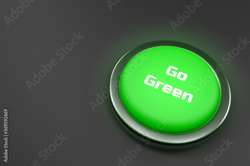 Fototapety, obrazy: 3d rendering of a shiny green button isolated on black background.  Go Green button for web page, presentation, apps and design products. Horizontal composition with copy space.