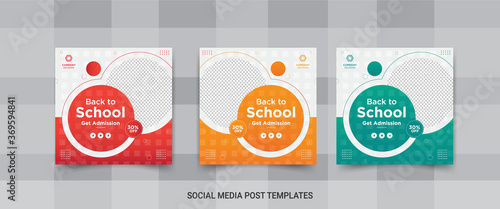 Fotografía Back to school and get admission social media post banner design template