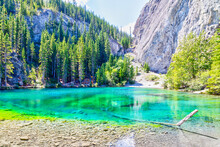 Emerald-Colored Grassi Lakes In The Kananaskis Country Of Canmore, Alberta, Canada