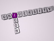 Crosswords Of UNIVERSITY ICON Arranged By Cubic Letters On A Mirror Floor, Concept Meaning And Presentation. Education And College