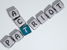 Patriot Act Combined By Dice Letters And Color Crossing For The Related Meanings Of The Concept. Flag And Illustration