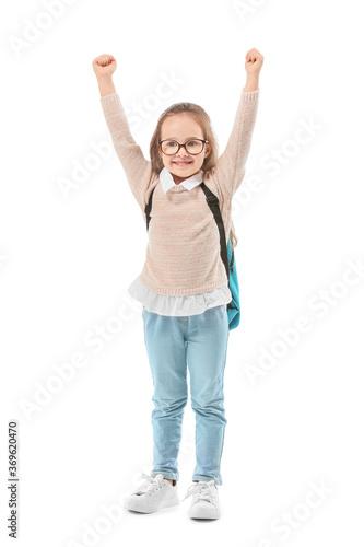 Cute little schoolgirl on white background Slika na platnu