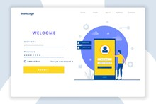 Modern Flat Design Login Landing Page Template. Illustration For Websites, Landing Pages, Mobile Applications, Posters And Banners.