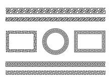 Greek Frame Borders. Ancient Native Roman Or Hellenic Geometric Decoration, Mediterranean Classic Old Patterns. Tattoo Textures Vector Set
