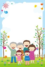 The Background Of The Family Gathering In The Garden With A Smile.A Good Background To Write About Family Love.Vector Source For Moving And Editing Individual Images.