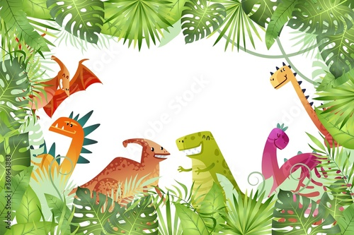 Obraz Jungle background. Funny dinosaurs on rainforest background, animal dragon and cute nature reptile, childish bright empty frame or border template, vector cartoon illustration - fototapety do salonu