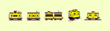 Set Of Caboose With Various Models Isolated Vector On Yellow