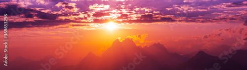 Obraz Sunset at Ushba - fototapety do salonu