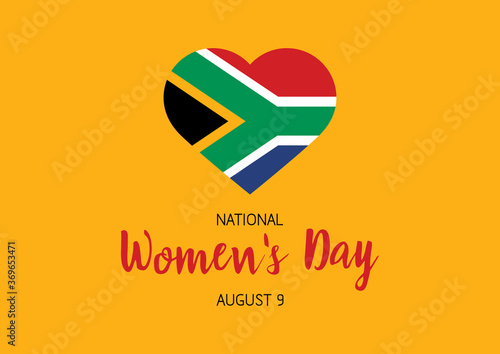 Obraz National Women's Day August 9 vector. Flag of South Africa in heart shape vector. South African holiday. Women's Day Poster, August 9. Important day - fototapety do salonu