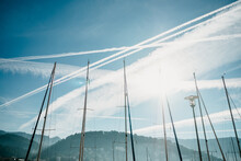 Low Angle Shot Of Boat Masts U...