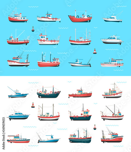 Photo Fishing boats side view and buoys with blue sea background and isolated on white
