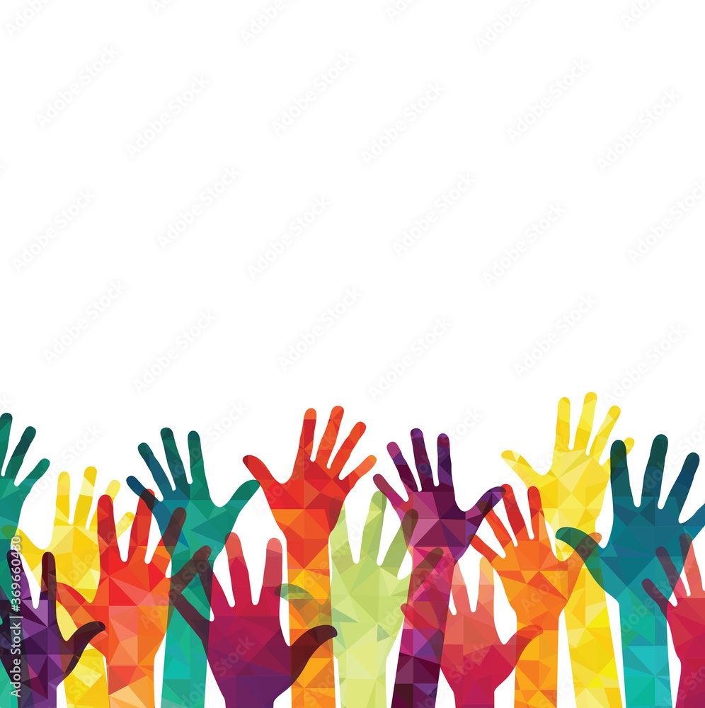 Fototapeta Colorful up hands. Volunteers. Vector illustration, an association, unity, partners, company, friendship, friends party background. Vector illustration