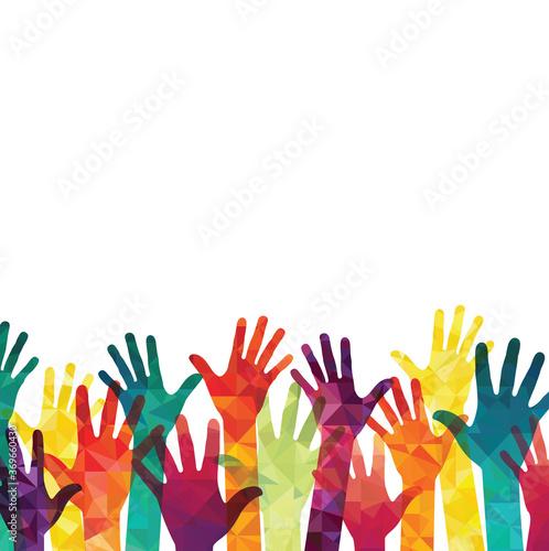 Obraz Colorful up hands. Volunteers. Vector illustration, an association, unity, partners, company, friendship, friends party background. Vector illustration - fototapety do salonu