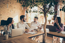 Nice Attractive Cheerful People Executive Managers Leaders Partners Discussing It Digital Project Start-up Committee At Modern Industrial Loft Brick Style Interior Workplace Workstation