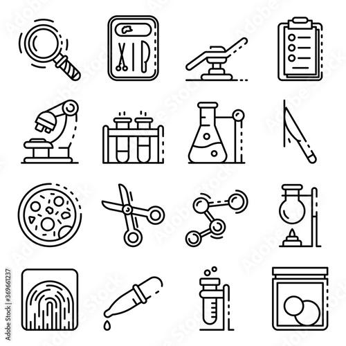 Fotografie, Obraz Forensic laboratory icons set, outline style