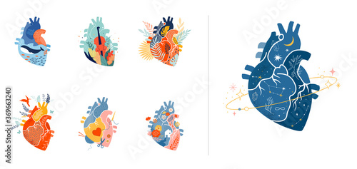 Obraz Collection of anatomical heart modern print design, art work - fototapety do salonu