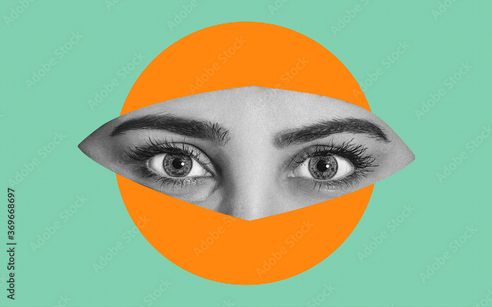 Abstract image of a part of a woman's face with eyes. It can be used as an independent illustration to thematic content or a component for further creativity.
