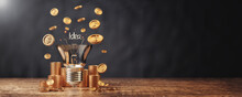 Money Making Ideas With Light Bulb And Money Coins Stack With Banner Size 3d Illustrations