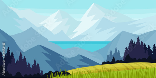 Photo Distant Mountain Peaks and Meadow Flora Horizontal Landscape Vector Illustration