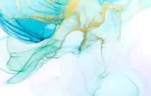Alcohol Ink Blue Abstract Background. Ocean Style Watercolor Texture. Blue And Gold Paint Stains Illustration