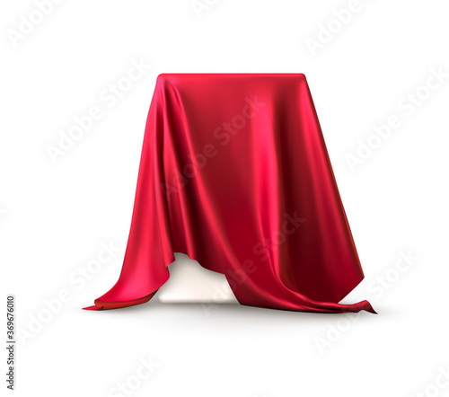 Fototapeta Realistic box covered with red silk cloth. Isolated on white background. Satin fabric wave texture material. Textile design, fabric. Vector illustration obraz