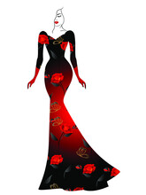 A Woman In A Long Dress With Red Roses