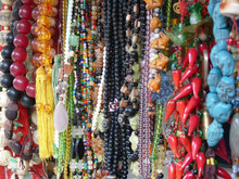 Closeup Shot Of Many Handmade Chains Of Colorful Beads