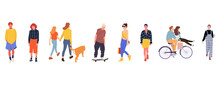 Crowd Of People Performing Outdoor Activities - Walking Dogs, Riding Bicycle, Skateboarding. Group Of Male And Female Flat Cartoon Characters Isolated On White Background. Vector Illustration.