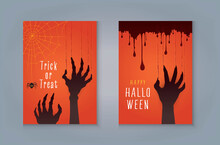 Happy Halloween Night Party Greeting Card, Zombie Hand's Claws Scratch Scrape Track, Scary Hand With Nails And Blood, Cobweb, Spider.