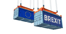Freight Containers With The Text BREXIT And European Union Flag On The Side. 3D Rendering