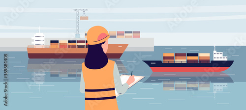 Fotomural Industrial ship port worker standing on loading dock and writing in notepad