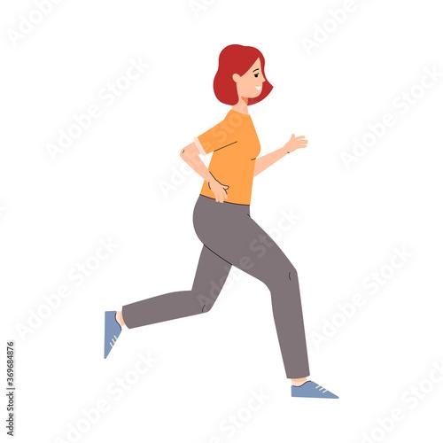 Obraz Cartoon runner athlete doing cardio sport exercise - happy woman running - fototapety do salonu