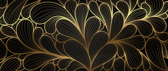 Luxury golden wallpaper. Abstract gold line arts texture with dark background design for cover, invitation background, packaging design, fabric, and print. Vector illustration.