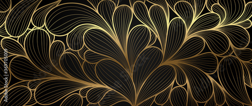 Obraz Luxury golden wallpaper.  Abstract gold line arts texture with dark background design for cover, invitation background, packaging design, fabric, and print. Vector illustration. - fototapety do salonu
