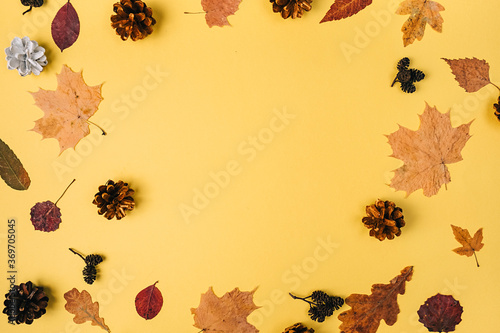 Creative composition of little dried leaves, pine cone on pastel orange studio background with copy space for advertisement Tapéta, Fotótapéta