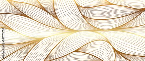 Obraz Luxury golden wallpaper. Art Deco Pattern, Vip invitation background texture for print, fabric, packaging design, invite.  Vintage vector illustration. - fototapety do salonu