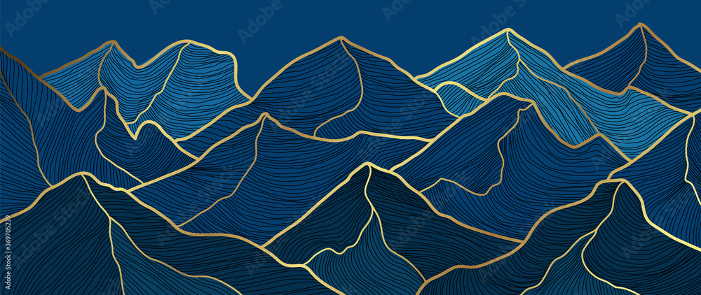 Fototapeta landscape wallpaper design with Golden mountain line arts, luxury background design for cover, invitation background, packaging design, fabric, and print. Vector illustration.