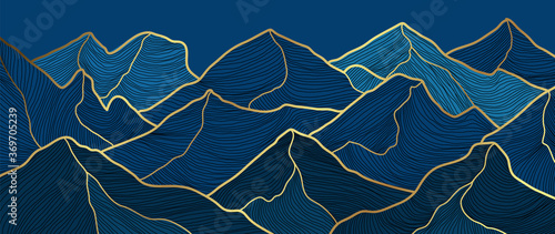 landscape wallpaper design with Golden mountain line arts, luxury background design for cover, invitation background, packaging design, fabric, and print Fototapeta