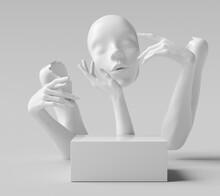 Face Mask Sculpture, White Hand Mannequin Gesture Broken Part, Cosmetic Podium Showcase Concept 3d Rendering