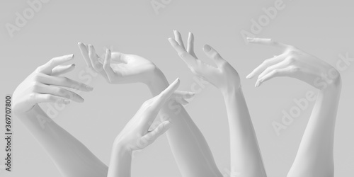 Fototapety, obrazy: Mannequin hands set, isolated female hand white sculptures elegant gestures isolated 3d rendering concept