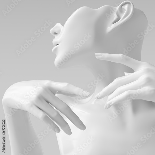 Fototapety, obrazy: White woman profile sculpture and closeup hands on the face elegant gestures 3d rendering mannequin