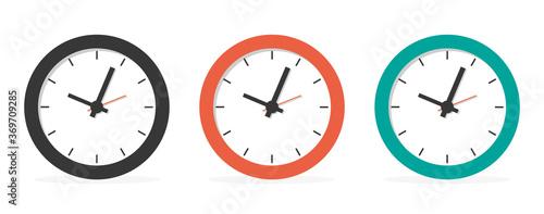 Obraz Flat long shadow clock icon isolated on white background - fototapety do salonu