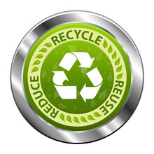 Recycle Emblem Or Symbol With Text Recycle, Reuse, Reduce Green Metal Icon Isolated On White Background. Vector Illustration