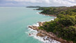 View from above, stunning aerial view of a beautiful beach bathed by a turquoise sea in summer. Samed, Thailand.