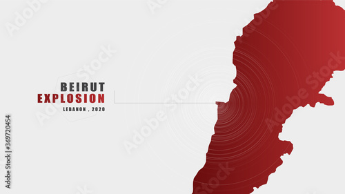 Tela Beirut explosion Message with Map on Gray background; design for News and Advertising;after Beirut explosion; vector illustration