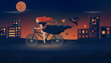 Halloween. Joyful Witch Rides A Bicycle Through The Night City